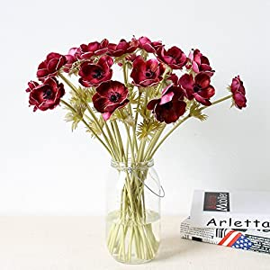 5Pcs Artifical Real Touch PU Anemone Flower Bouquet Room Home Decor 3