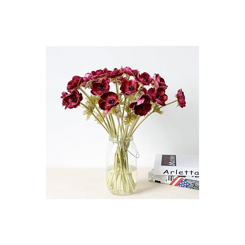 silk flower arrangements lebritamfa 5pcs artifical real touch pu anemone flower bouquet room home decor (red)
