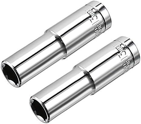 uxcell ディープソケット レンチソケット 6ポイントソケット 12.7mmドライブ Cr-V 13mm 2枚入り