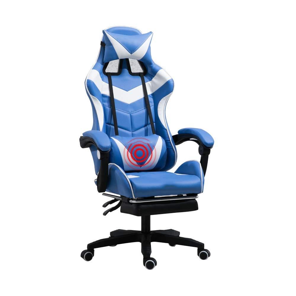 足台が付いている背部マッサージの賭博の椅子、ヘッドレストおよびマッサージの腰椎の枕が付いている人間工学的の高いあと振れ止めのオフィスコンピュータ椅子 (Color : Blue white) B07TNRW4GR Blue white