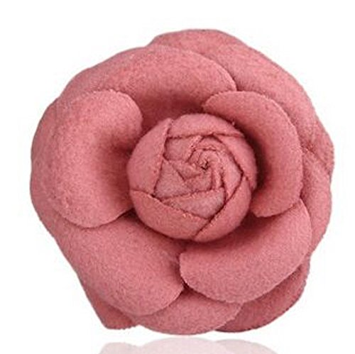 MISASHA Celebrity Designer Fabric Tweed Camellia Rose Pink Flower Pin Brooch Claddagh Circle Pendant