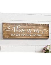 """TIMEYARD Rustic Wall Mounted Wood Sign, This is Us Painted Farmhouse Wall Decoration for Living Room Bedroom Entryway Kitchen, 16.5"""" x 5.5"""" - Brown"""