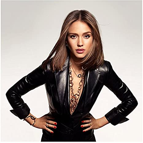 1f555442eb Jessica Alba 8 inch x 10 inch Photo Black Leather Jacket No Blouse Lots of  Gold Chains kn at Amazon's Entertainment Collectibles Store