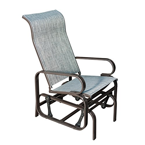 SunLife Patio Glider Rocking Chair, Outdoor Garden Rocker Lounge Chair, Heavy Duty Steel Frame, Taupe Brown Finish, Gray Fabric by SunLife