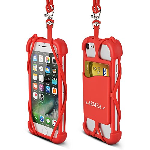 2 in 1 Cell Phone Lanyard Neck Strap Case Universal Smartphone Necklace Shockproof Cover with ID Card Slot Holder for iPhone X 8 7 6 6S 5 SE iPod Touch Samsung Galaxy S8 S7 S6 Edge (Red)