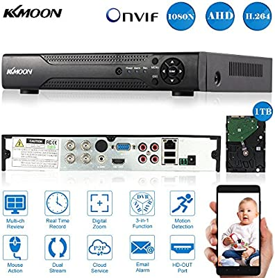 KKmoon 4CH Channel Full 1080N/720P AHD DVR HVR NVR HDMI P2P Cloud Network  Onvif Digital Video Recorder + 1TB Hard Disk support Motion Detection Email