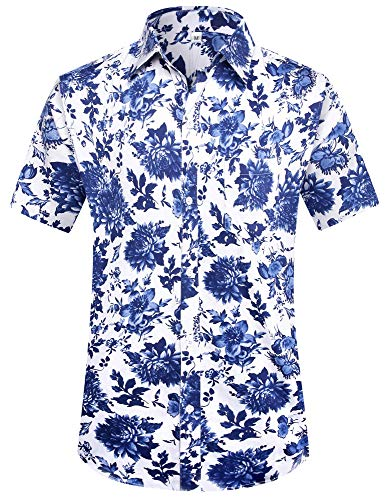 PEGENO Men's Flower Casual Button Down Short Sleeve Hawaiian Shirt (3X-Large, Blue Peony)