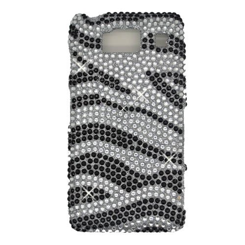(Boundle Accessory for Verizon Motorola Droid Fighter XT926 - Zebra Rhinestone Design Hard Case Protector Cover + Lf Stylus Pen +Lf Screen Wiper)