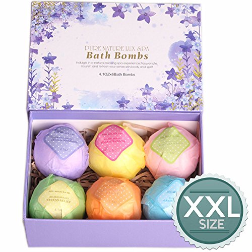 LuxSpa Bath Bombs Gift Set - The Best Ultra Lush Natural Bubble Fizzies With Dead Sea Salt Cocoa And Shea Essential Oils, 6 x 4.1 oz, The Best Birthday Gift idea For Her/Him, wife, girlfriend, women -