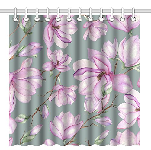 Wknoon 72 x 72 Inch Shower Curtain,Vintage Seamless floral pattern with magnolias painted with watercolors on grey background Art,Waterproof Polyester Fabric Decorative Bathroom Bath (Magnolia Pattern)
