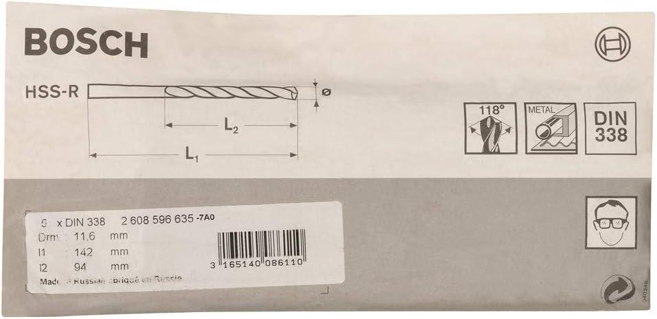 Bosch 2608596635 Metal Drill Bit Hss-R 11 6mmx3.7In 5 Pcs