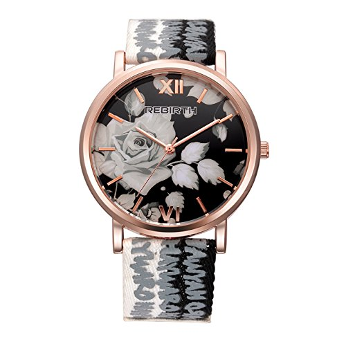 Flower Print Watch - Top Plaza Womens Flower Dial Rose Gold Case Letter Print Canvas + PU Leather Strap Roman Numeral Waterproof Analog Quartz Watch(Black and White)