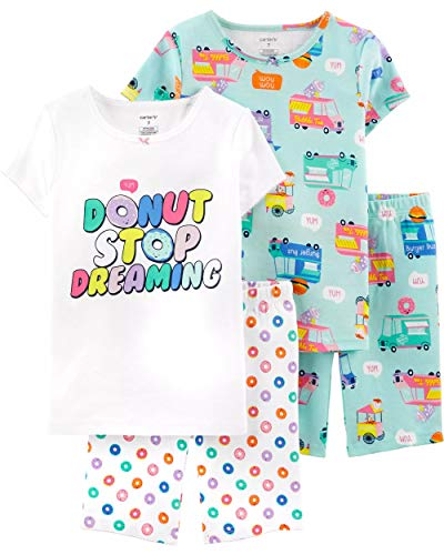 - Carter's Girls' 4-Piece Snug Fit Cotton PJS (7, Turquoise/White/Donuts)