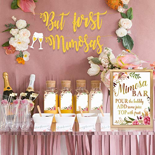 MORDUN Mimosa Bar Sign Banner Tags| Gold Floral Decorations for Bridal Shower Bubbly Bar Champagne Brunch Baby Shower Wedding Engagement Birthday Party Graduation - Products Carafe