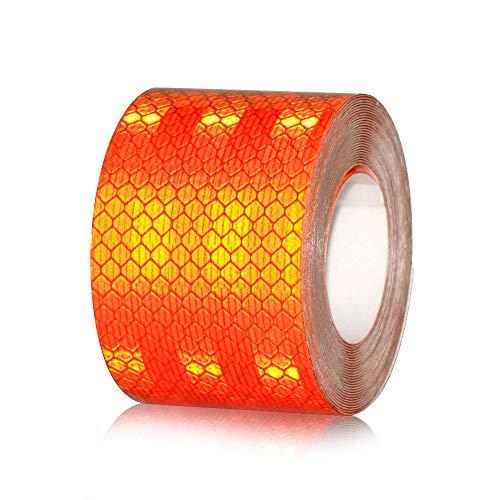 - 5x200Cm High Safety Warning Reflective Tape-Reflective Tape Decal-Colorful Reflective Tape for Cars-Reflective Safety Hazard Caution Tape Yellow Black-Caution Reflective Decal Tape Adhesive (Orange)