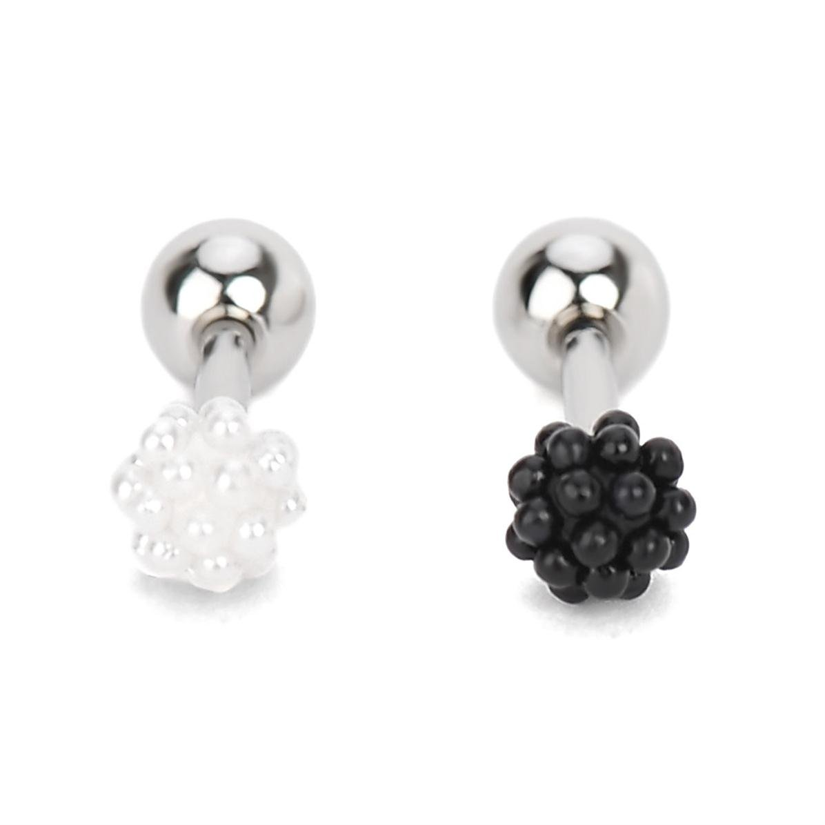 2 Pairs Stainless Steel Stud Earrings Barbell Black White Body Piercing Set