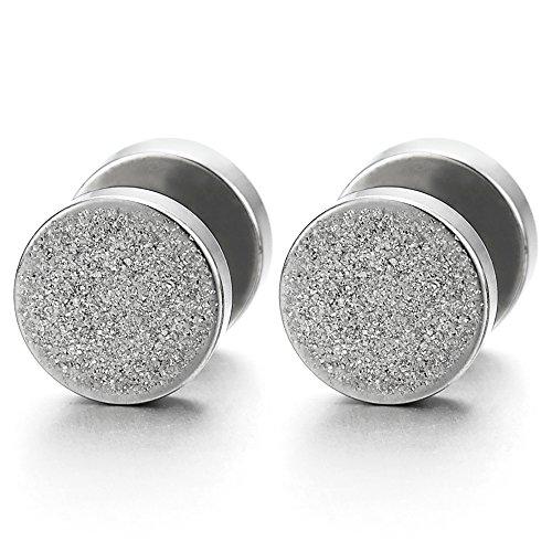 2pcs 8MM Satin Screw Circle Stud Earrings for Men Women Steel Cheater Fake Ear Plugs Gauges