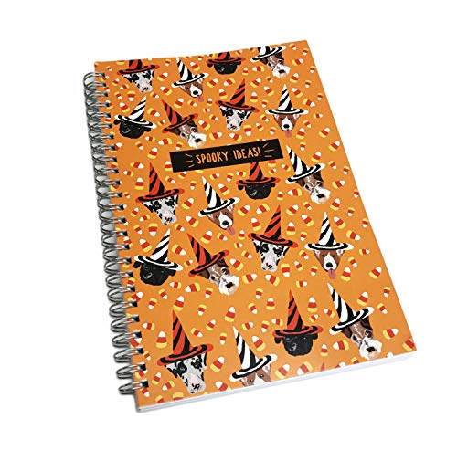 Spooky Ideas Cute Halloween Dogs in Festive Hats Spiral Bound Lined Novelty Notebook
