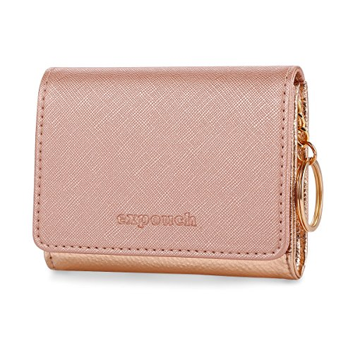 Gold Leather Ring - Rose Gold Leather Coin Purse Key Chain Credit Card Wallet Card Holder with Key Ring and ID Window Small Size