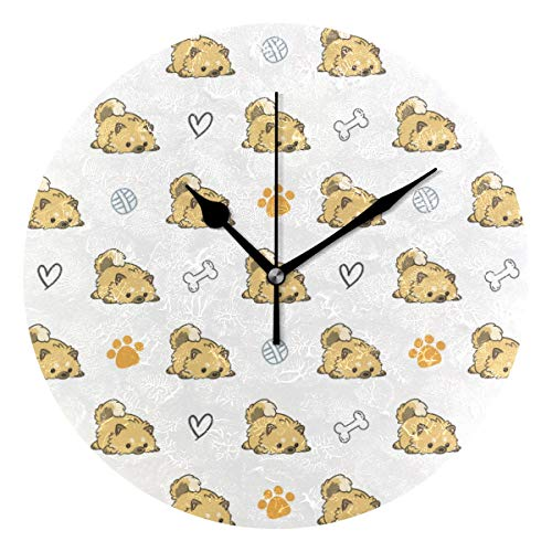 Decorative Miniature Pomeranian Wall Clock Silent & Non-Ticking Quartz Clock Indoor Kitchen Clock, Round 10