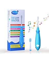 Electric Toothbrush Kids Battery Powered with Smart Timer Sonic Toothbrush Built in LED Light with 7 Songs 2 Replacement Heads for Children and Toddler Age 3 to 6 Blue by Fairywill