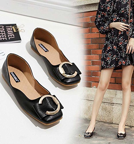 Pump 34 Casual Metal Driving Shoes Color Square Belt Eu Simple Ballerina Size Court Shoes Women Black 39 On Pure Buckle Toe Shoes Slip Flats 4wY4xA1qr