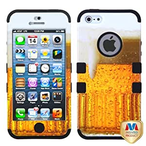 Microseven® Hybrid Tuff Case Cover for iPhone 5 / 5S w/ Microseven® Packaging All Carriers (Beer ? Food Fight Collection/Black)