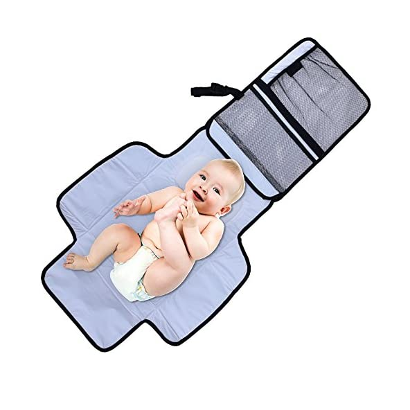Aautoo Baby Portable Changing Pad Diaper Changing Station Built-in Head Cushion Portable Travel Diapering Changing Pad On The Go Baby Shower Baby Registry Must Have