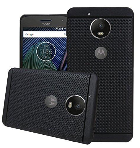 Thinkzy Exclusive Dotted Design Soft Back Cover for Motorola Moto G5 Plus  Black
