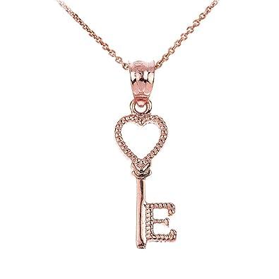 Amazon.com: 10k Rose Gold Heart Key Initial Letter E Pendant
