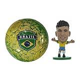 Brasil - Size 5 Soccer Ball & Neymar SoccerStarz Figure Combo