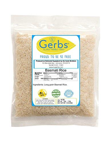 Basmati Rice by Gerbs - 2 LBS - Top 11 Food Allergen Free & NON GMO - Vegan & Kosher – Premium Whole Grain, Product of India Basmati Rice Whole Grain