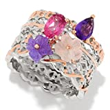 Michael Valitutti Palladium Silver Set of Four Multi Gemstone Carved Flower Stack Band Rings