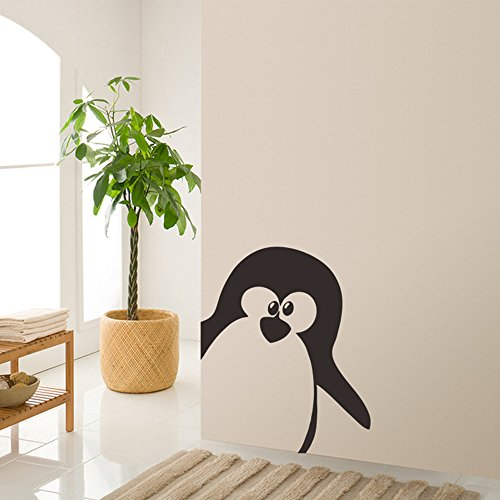Home Wing Removable Room Decoration Wall Decals Cute Penguin Vinyl Wall Stickes Black 22.8 x 28 Inch