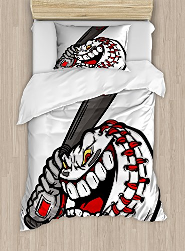 Boy's Room Duvet Cover Set Twin Size by Lunarable, Cartoon Style Scary Aggressive Baseball Ball Face Holding a Bat, Decorative 2 Piece Bedding Set with 1 Pillow Sham, Charcoal Grey Red White (Baseball Bat Bedding)
