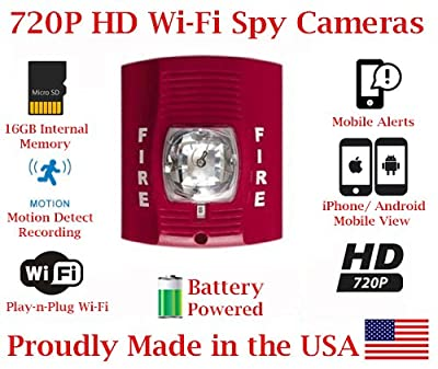 SecureGuard 720p HD WiFi Battery Powered Wireless IP Fire Alarm Strobe Light Hidden Security Nanny Cam Spy Camera with 16GB Memory (24 Hour Red) from AES Spy Cameras