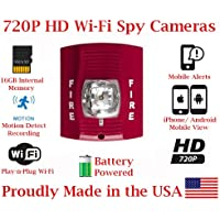 SecureGuard 720p HD WiFi Battery Powered Wireless IP Fire Alarm Strobe Light Hidden Security Nanny Cam Spy Camera with 16GB Memory (24 Hour Red)