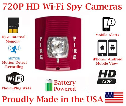 SecureGuard 1080P HD WiFi Battery Powered Wireless IP Fire Alarm Strobe Light Hidden Security Nanny Cam Spy Camera with 16GB Memory (24 Hour - Pc 24r