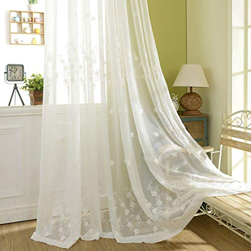 Cotton and Linen Embroidery Eyelet Curtain Sheer Curtain Panel Tulle Voile Window Balcony Door Curtain for Bedroom, Living Room, Study Room and Home Decoration -