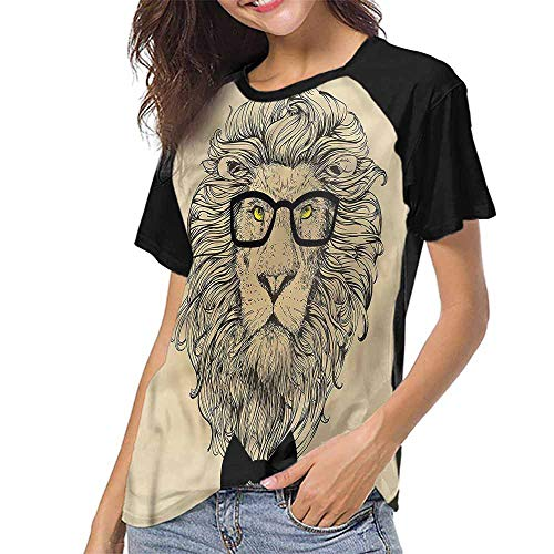 familytaste Raglan Baseball Tee Short Sleeve,Indie,Dandy Cool Lion Character S-XXL(This is for Size Large),Women Fashion -