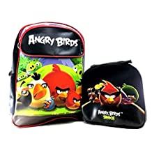 """Rovio Angry Birds Family Boys 16"""" Canvas School Backpack Plus Lunch Bag Set"""