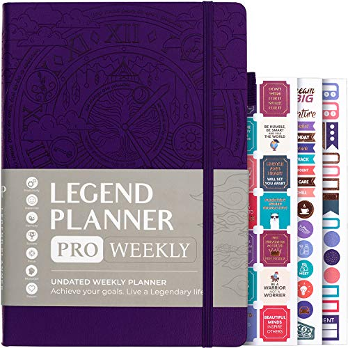 """Legend Planner PRO - Deluxe Weekly & Monthly Life Planner to Increase Productivity and Hit Your Goals. Time Management Organizer Notebook - Undated - 7 x 10"""" Hardcover + Stickers - Dark Purple"""