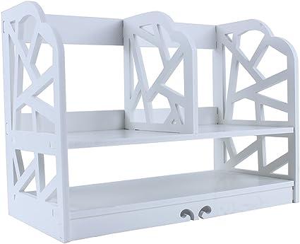 Greensen Estanteria Blanca Pequeña,2-Tier DIY Hueco Tablero Estante de Almacenamiento con 4 Compartimentos para Casa Oficina Cocina Dormitorio Cuarto de Baño, Baldas WPC, Blanco (40 * 21 * 30 cm): Amazon.es: Hogar