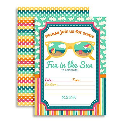 Summer Fun in The Sun Birthday Party Fill in Invitations Set of Twenty with envelopes by AmandaCreation