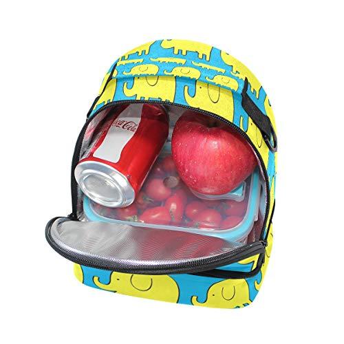 Folpply mignon Dessin animé éléphant Boîte à lunch Sac isotherme Cooler Tote avec bandoulière réglable pour Pincnic à l'école