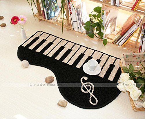 New Black Keyboard area rug piano music note rugs carpet piano mat Music RoomBedroom/Living Room/Bathroom/Kitchen Home Decoration Carpet (50x80cm,20