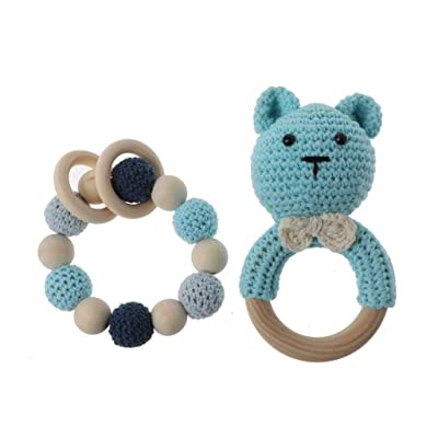Ladaidra Baby Wooden Teether Bracelet Set Crochet Animal Teething Rattle Ring Chewing Toy: Toys & Games