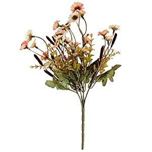 TOYANDONA Artificial Daisy Flowers Bouquet Plant Bundle for Home Office Garden Patio Decoration (Orange) 113