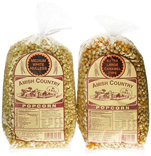 Amish Country Popcorn Variety 2 Bags 2 Lbs Each Total 4 Lbs (Caramel Popcorn Bag)