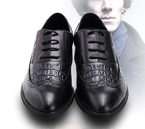 Happyshop (tm) Vrai Cuir Vintga Style Robe Daffaires Formelle Chaussures Mode Lace Up Chaussures Pour Hommes Noir